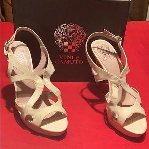 Cream Strap Leather Heels